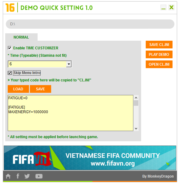 FIFA 16 Demo Quick Setting
