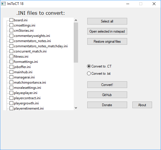 Convert Ini Files To Cheat Table Tool